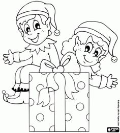 christmas elves with a gift coloring page christmas yard art christmas yard decorations christmas