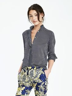 stripe ruffle blouse. need this for fall! #bananarepublic