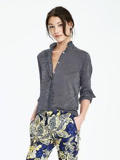 stripe ruffle blouse. need this for fall! #bananarepublic