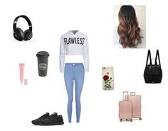 """""""an outfit to go on a plane ✈️🛩"""" by chloearia ❤ liked on Polyvore featuring CalPak, Marc Jacobs, New Look, WithChic, The Created Co., NIKE, Beats by Dr. Dre and Christian Dior"""