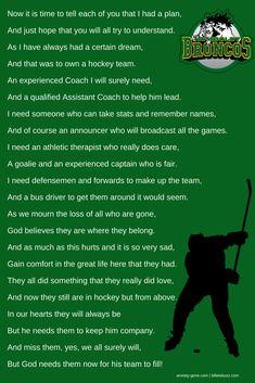 I cried when I read this. Prayers for Humboldt Hockey Sayings, Hockey Memes, Hockey Girlfriend, Girlfriend Quotes, Hockey Coach, Hockey Players, Alaska Aces, Hockey Boards, Best Poems