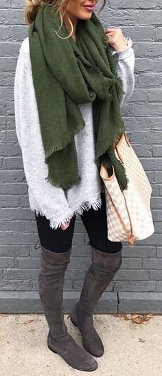 #Winter #Outfits / Oversized Scarf + Gray OTK Boots