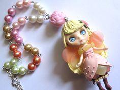 Last Piece Rare Mori Forest Lolita Fantasy Garden Princess Fairy Girl Cosplay Big Eyed Blythe Doll Rainbow pearls Pink Rose Necklace. $69.00, via Etsy.