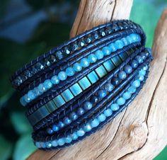 Beaded Leather Five Wrap Bracelet Blue Beaded Wrap Tila