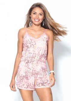 Krátky overal s potlačou a čipkou #ModinoSK #pastel #pink  #overal