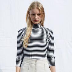 FWSS Stay positive striped turtleneck top - FWSS - Fall Winter Spring Summer - shop online