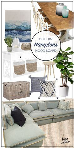 Modern Hamptons style with a relaxed coastal feel, this living & dining room mood board will inspire! If you can't live at the beach, decorate like you do! room styling hamptons Hamptons living and dining mood board Hamptons Living Room, Coastal Living Rooms, Hamptons Style Bedrooms, Living Dining Rooms, Lake Cottage Living, Hamptons Style Decor, The Hamptons, Hamptons Beach Houses, Hamptons House