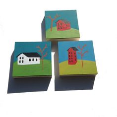 Set of original art Little Houses original acrylic by Tuesdaymoon