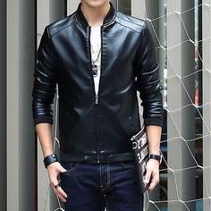 c1e48e3d79a Men s Daily   Club Fall   Winter Plus Size Regular Leather Jacket