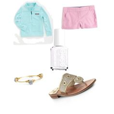 Vineyard vines  by lillypulitzera on Polyvore featuring polyvore, fashion, style, J.Crew, Jack Rogers, Bourbon and Boweties, Essie and Vineyard Vines