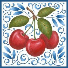 Medium Decoupage, Cherry On Top, Wood Blocks, Folk Art, Whimsical, Merry Christmas, Cherries, Clip Art, Hand Painted