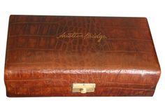 Antique Leather Bridge Box