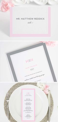 Modern Pink and Gray Wedding Invitations Suite with matching menus, and save the dates! http://www.shineweddinginvitations.com/wedding-invitations/modern-initials-wedding-invitations