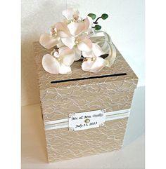 Wedding Card Box Vintage Champagne Tan Ivory & Gold Single Tier. Wedding Card Holder. Tan Vintage Wedding Money Box.