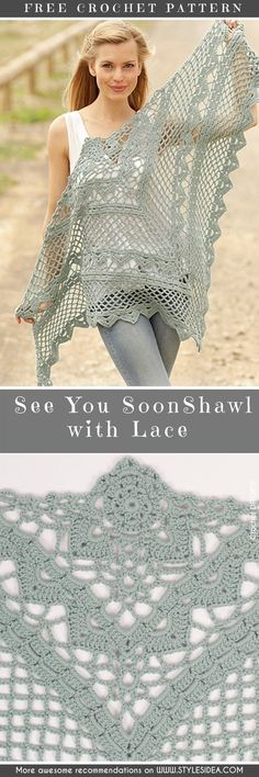 Every day we can find another occasion to crochet, today we present you fabulous Drops design, Shawl with Lace. Easy and works up quickly, to do by mostly
