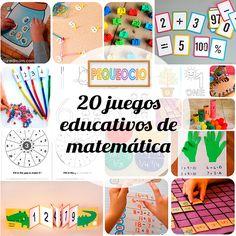 20 juegos educativos para aprender matemática Actividades y juegos educativos para aprender matemáticas. Números, operaciones, contar, juegos educativos caseros de matemática.