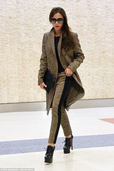 Back in NYC: Victoria arrived back in the Big Apple in absolutely flawless style on Saturday ahead of her show on Valentine's day