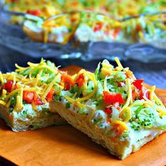 Cool Veggie Pizza Appetizer.... It's like serving a salad on top of a crouton!!!   :))