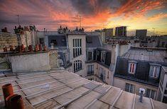 sunset in rooftops in PAris