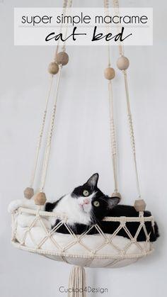 Diy Cat Hammock, Diy Cat Bed, Macrame Cord, Macrame Knots, Cat Room, Macrame Design, Macrame Projects, Diy Projects, Cute Diys