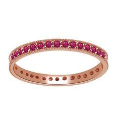 1/3ct Round Cut Pink Sapphire Rose Gold Eternity Band Ring + Black Diamond #AFFINITYENGAGEMENTJEWELS #EternityBand