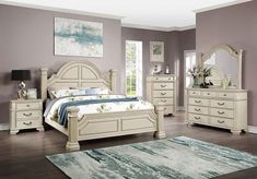 """FOA7144WH 4 pc Canora grey ortiz pamphilos elegant style antique white finish wood queen bedroom set. This set features short posts style headboard and footboard with stylish detail . This set includes the Queen bed , one nightstand, Dresser, mirror. Additional pieces also available separately. Queen bed measures 93 3/4"""" x 67 5/8"""" x 68 1/2"""" H. Nightstand measures 28"""" x 17"""" x 29"""" H. Dresser measures 62"""" x 17"""" x 38 7/8"""" H. Mirror measures 49... Queen Bedroom, Queen Beds, Bedroom Sets, Dresser Mirror, Headboard And Footboard, Elegant, Stylish, Wood, Furniture"""