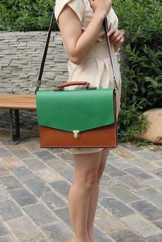 "Handmade Genuine Leather Briefcase, 14"" Laptop 15"" 17"" MacBook Case"
