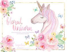https://www.etsy.com/mx/listing/613208012/cabeza-y-cuerno-de-unicornio-en-acuarela  #UNICORNIO #unicorn #floralwatercolor #watercolorpainting #Butterflies #babyshower #babygirl