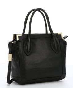 Foley + Corinna black leather framed mini convertible shopper tote | BLUEFLY