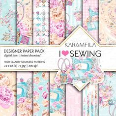 Sewing Seamless Patterns by Karamfila on @creativemarket