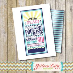 Splish Splash Pool Party Invitation pool by YellowLilyDesigns, $12.00