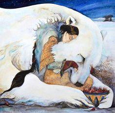 """She fed him Rosehips"", illustration by Jackie Morris for ""Bears"""