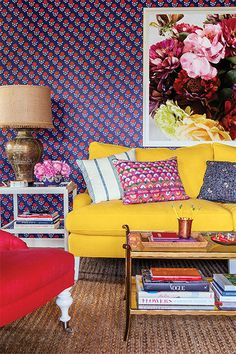 Mindy Kaling's office is so colorful.
