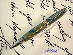 Hand Turned Ballpoint Pen of Two Tone Hand cast Acrylic on Etsy, $87.00