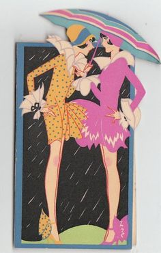 Deco tally cards - jazz ladies in the rain