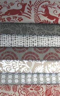 Love, love, love this collection of fabrics from Lindsay Alker - This first collection under her own name is designed with lino-blocks and hand silkscreened in England.