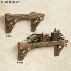 Bring the beauty of the great outdoors into your home with the realistic-looking Rustic Timber Wall Shelf. Give lodge-themed decor a picturesque woodland feel with this quaint, brown resin wall shelf that resembles natural wood. Diy Wood Projects, Furniture Projects, Wood Crafts, Driftwood Furniture, Rustic Furniture, Modern Furniture, Antique Furniture, Driftwood Shelf, Garden Furniture