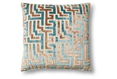 Jigsaw 16x16 Cotton Pillow, Teal/Gray