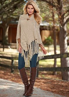 Womens Fring poncho, skinny denim, riding boot by VENUS Mom Outfits, Fall Outfits, Casual Outfits, Cute Outfits, Autumn Fashion Casual, Fall Fashion Trends, Autumn Winter Fashion, Embellished Jeans, Fashion Over 50
