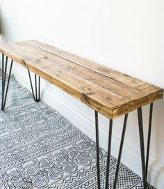Sustainable Rustic wooden Bench with harpin legs, Farmhouse Style decor, Modern Bedroom home furnishings, Entryway benches, Seating - Details Dimensions 10 inches x 36 Made from Oak & Steel harpin legs. Handmade Item Made in Rhode Is - Diy Coffee Table, Diy Table, Hairpin Leg Coffee Table, Diy Hairpin Legs, Coffee Table Upcycle Ideas, Farmhouse Style Decorating, Farmhouse Decor, Rustic Wooden Bench, Diy Industrial Bench