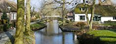 Giethoorn, Netherlands. An idyllic village with no roads, only beautiful canals and foot paths.