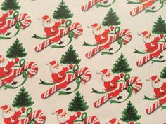 Vintage Christmas Gift Wrapping Paper - Peppermint Candy Canes, Starlight Mints and Festive Holly - 1 Unused Full Sheet Gift Wrap - The Goose and The Hound - Vintage Wrapping Paper - Vintage Christmas Wrapping Paper, Vintage Christmas Images, Old Christmas, Old Fashioned Christmas, Gift Wrapping Paper, Christmas Gift Wrapping, Christmas Paper, Retro Christmas, Vintage Holiday