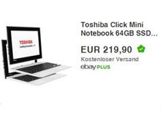 Toshiba: Satellite Click Mini L9W-B-103 mit 64 GByte Speicher für 219,90 Euro https://www.discountfan.de/artikel/technik_und_haushalt/toshiba-satellite-click-mini-convertible-mit-64-gbyte-speicher-fuer-219-90-euro.php Mit dem Toshiba L9W-B-103 64GB ist bei Ebay jetzt ein Convertible mit 64 GByte Flash-Speicher, bis zu 13 Stunden Akku-Laufzeit und Windows 8.1 zum Schnäppchenpreis von 219,90 Euro frei Haus zu haben – andere Online-Shops verlangen mindestens 30 Euro me