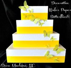 24 Yellow Decorative Wafer Paper Butterflies© Set in 5 different sizes Cake Decorations Cupcake Toppers -- Special product just for you. Wedding Cupcakes, Wedding Desserts, Paper Butterflies, Butterfly, Dessert Decoration, Decorations, Wafer Paper, Cupcake Toppers, Cake Decorating