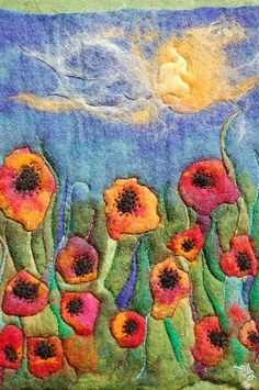 A wet felted artwork rich color palette hand sewn   by thereseholt, $250.00