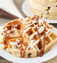 Cinnamon Roll Waffles - crisp, buttery, tender waffles, topped with an amazing combination of sweetened cream cheese and a cinnamon brown sugar topping. Each bite tastes just like a homemade cinnamon roll, but they're so much faster and easier to make! Cream Cheese Topping, Cream Cheese Rolls, Cinnamon Cream Cheeses, Cinnamon Roll Waffles, Cinnamon Rolls, Waffle Recipes, Baking Recipes, Waffle Crisp, Dirt Cake