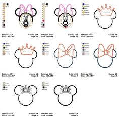 Minnie Mouse  Applique Embroidery Machine Designs Patterns on Etsy, $4.50