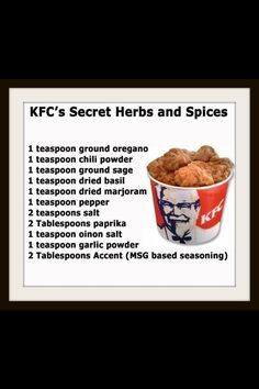 I also add Tellicherry Pepper which is in one of the other kfc recipes I have. It really gives it that kfc flavor Homemade Spices, Homemade Seasonings, Dog Food Recipes, Cooking Recipes, Family Recipes, Cooking Tips, Salad Recipes, Dry Rub Recipes, Cooking Cake