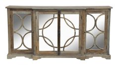 Reclaimed Wood Sideboard with high style designed mirror glass doors and antique style hardware