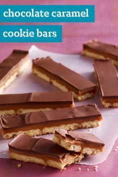 Chocolate Caramel Cookie Bars – Layer shortbread cookies with caramel and chocolate to create these layered dessert bars! This homemade recipe makes it easy to recreate your favorite candy bar.